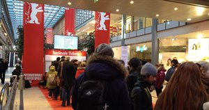 Students from European Film College at their annual student trip to the Berlinale