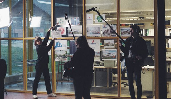 Film students on set at European Film College