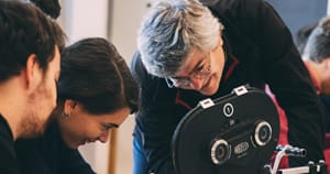 Camera teacher at European Film College Petru Maier - teaching a 16mm workshop